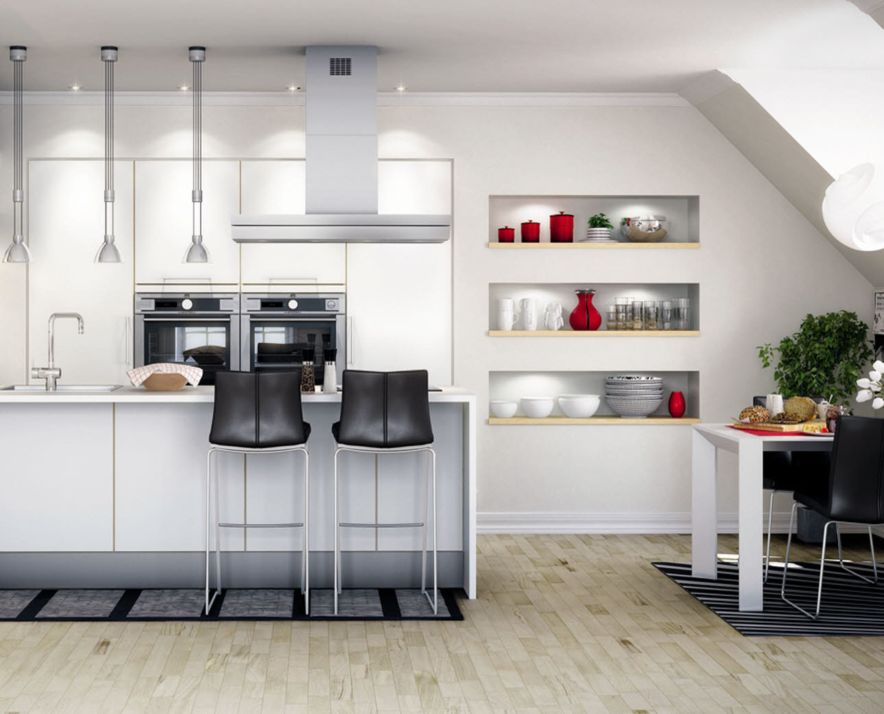 Open-plan kitchen solution with clean lines