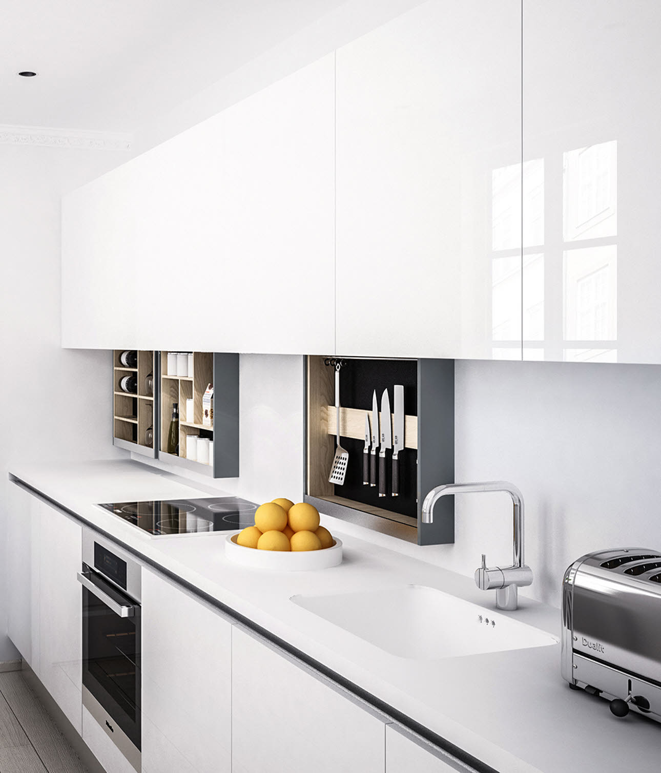Innovative kitchen shelves with MagicMoveID | HTH