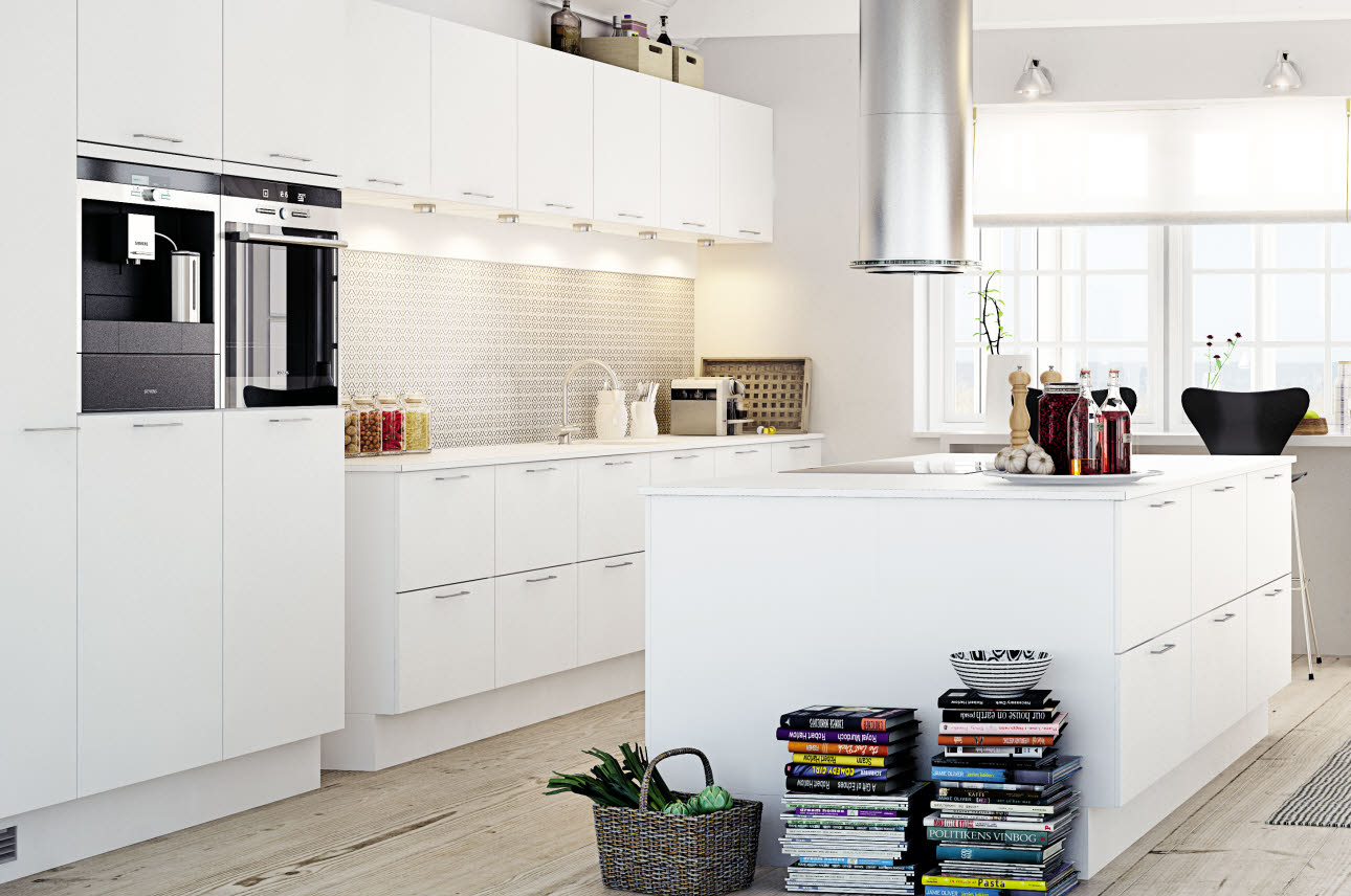 Modern white kitchen in minimalist style
