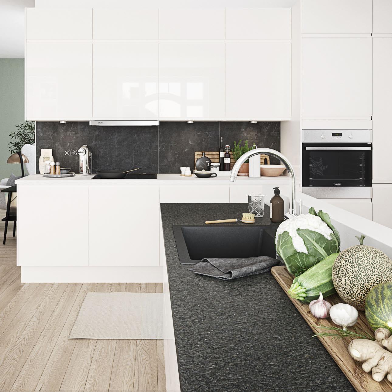 Bright Kitchen In Beautiful Handleless Design Next White High